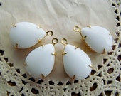 Vintage Opaque White Teardrop Jewels Stones in 1 Loop Brass Setting - 2