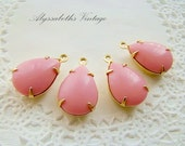 Large Vintage 15x11m Opaque Pink Teardrop Jewels Beads Stones in 1 Ring Brass Setting  - 2