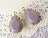 Opaque 15x11mm Lavender Faceted Teardrop Pear Glass Jewels, Stones, Rhinestones in 1 Ring Brass Drop Settings - 2