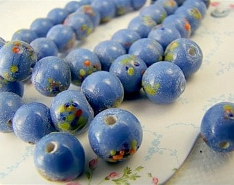 Vintage Blue Glass Multi Colored Speckled Millefiori Beads 8mm (8)