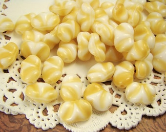 SALE Vintage Opaque Tan & White Wavy Swirl Beads 10mm 7mm (10)