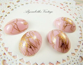 Vintage Opaque Pink & Gold Drizzle Oval Glass Cabochons 18mm x 13mm Flat Back Stones - 4
