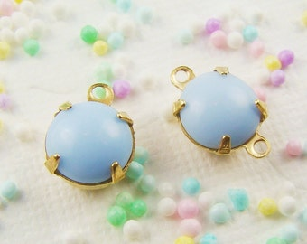 Vintage Pale Blue 8mm Round Opaque Glass Stones in Brass Drop or Connector Settings - 6