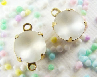 Vintage 8mm Round Clear Frosted Matte Glass Stones in Brass Drop or Connector Settings - 6