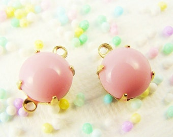 Pale Pink 8mm Vintage Opaque Glass Stones, Jewels, Rhinestones in 1 ring or 2 ring brass settings (6)