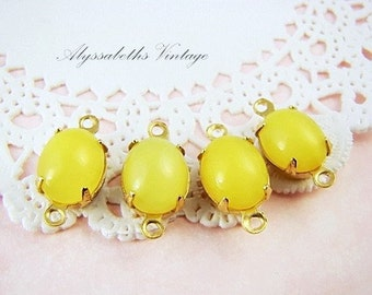 Vintage 10x8mm Yellow Moonstone Glass Jewels Stones Brass Prong Settings - 4