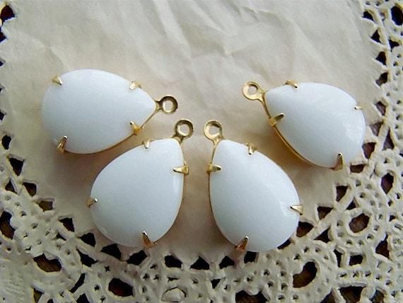 Vintage Opaque White Teardrop Jewels Stones in 1 Loop Brass Setting - 2