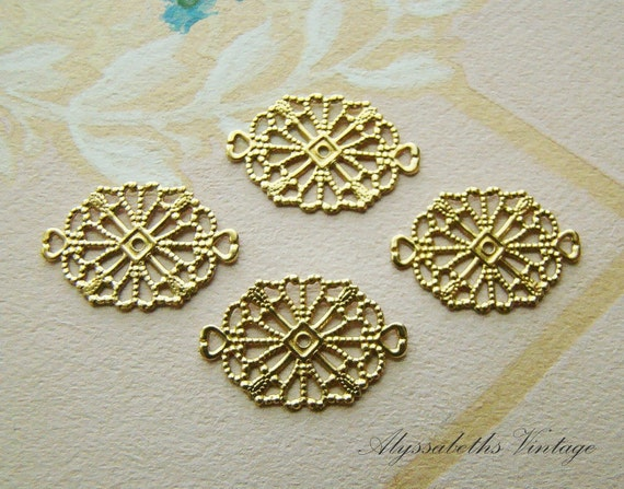 Art Deco Style Rectangle Brass Filigree Connectors Settings (6) 19mm x 12mm