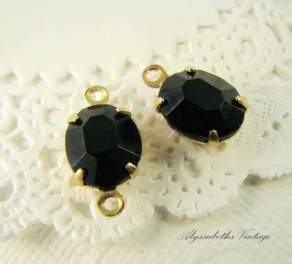 Faceted Jet Black Vintage Oval Glass Stones Jewels10x8mm 2 Ring or 1 Ring (4)
