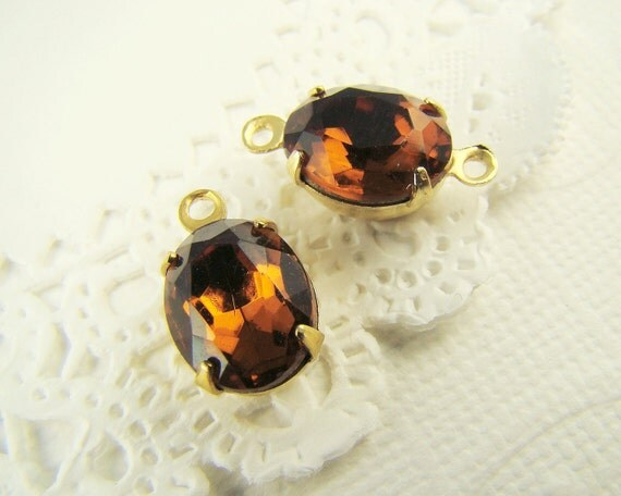 Vintage 10x8mm Oval Brown Topaz Glass Stones in Brass Drop or Connector Settings - 4