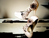 Champagne Beaded Lace and Floral Satin Pumps 6