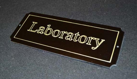 Laboratory Door Plaque Steampunk Sci-fi Gloss Black Effect