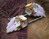 Set of Two Pale Purple and Gold Hair Pins With Flowers and Leaf and Rhinestone Detail