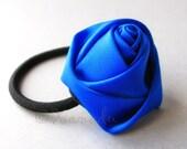 Royal Blue Flower Elastic Ponytail Holder, Ponytail Tie - Hand Twisted Satin Rose On Black Elastic Hair Tie
