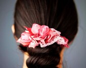 Pretty In Pink Floral Hair Scrunchie - Silk Netting Scrunchie with Handmade Organza Tulips Flowers - Great For Thick Ponytails