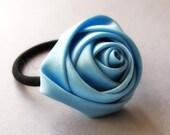 Baby Blue Flower Elastic Ponytail Holder, Ponytail Tie - Satin Rose On Black Elastic Hair Tie