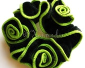 Green And Black Velvet Hair Scrunchie - Spanish Rose - Fancy Black Crushed Velvet with Sage Green Trim And Hand Twisted Flowers