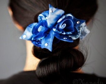 Something Blue Floral Hair Scrunchie With Silk Netting And Handmade Organza Tulips Flowers