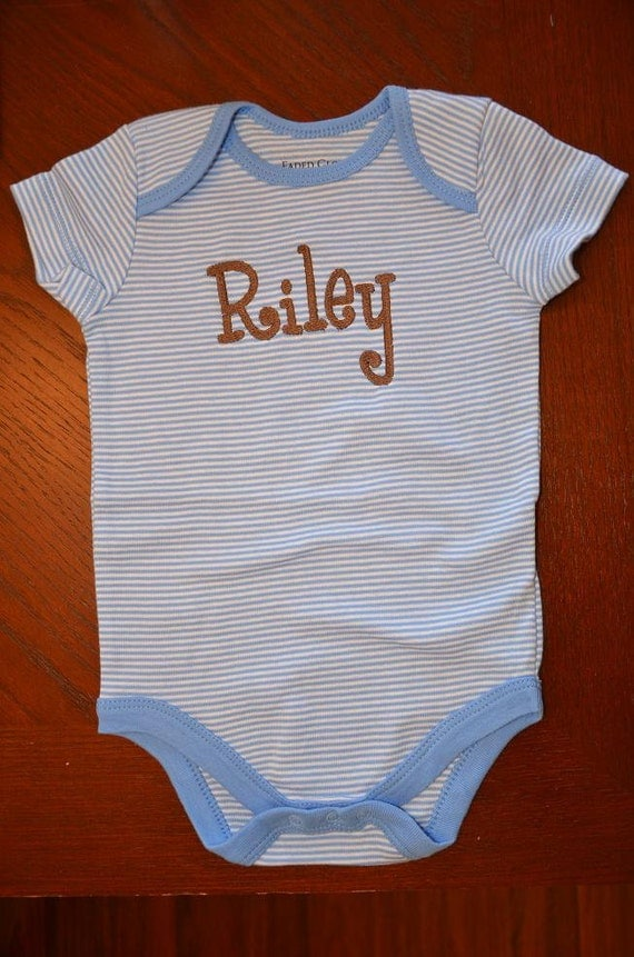 Monogrammed Personalized Onesie for Baby Boy