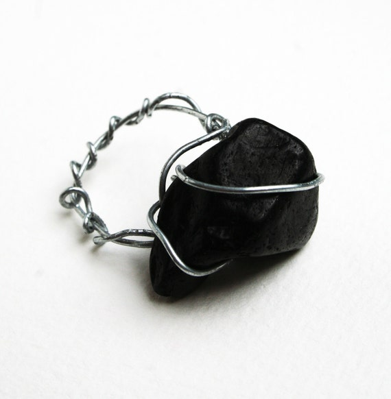 Glossy Charcoal Ring: Statement Ring, Black Jewelry, Rustic Black Ring