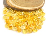 Natural Baltic Amber polished rounded beads - 50 pcs - Citrine - lemon