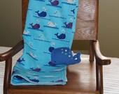 Whimsical Blue Whales Blanket