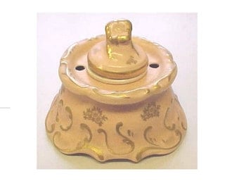 Fine China Ink Pot / Inkwell / Pen Holder - Very Interesting Vintage Baroque Pink & Gold design - G. Fox Hartford CT - Ladies Writing Table