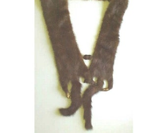 Vintage Mink Collar / Scarf / Boa w/ FEET - 2 3/4 full body pelts - No Heads - Natural 1940s 1950s Fur Neck Piece - Wear or Repurpose
