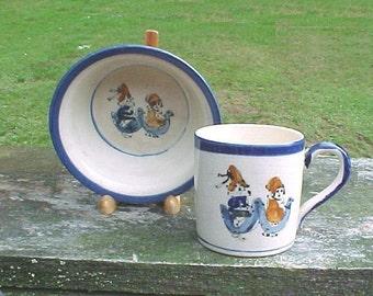 Children's Mug & Bowl Set, Kids Riding Ducks, Vintage Japan Pottery, playful children's breakfast dishes