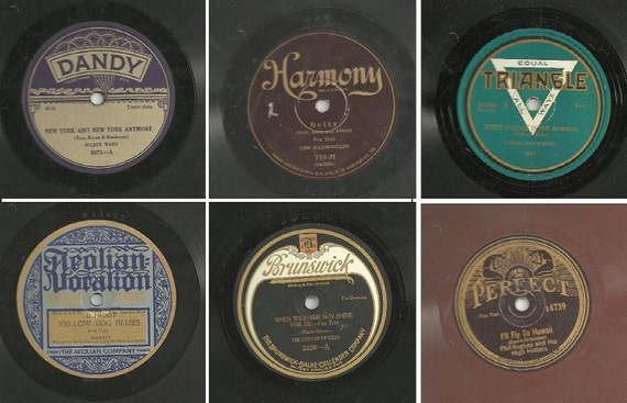 Six 1920s Phonograph Records - Vintage Gramophone - BEAUTIFUL GRAPHICS Play or Repurpose