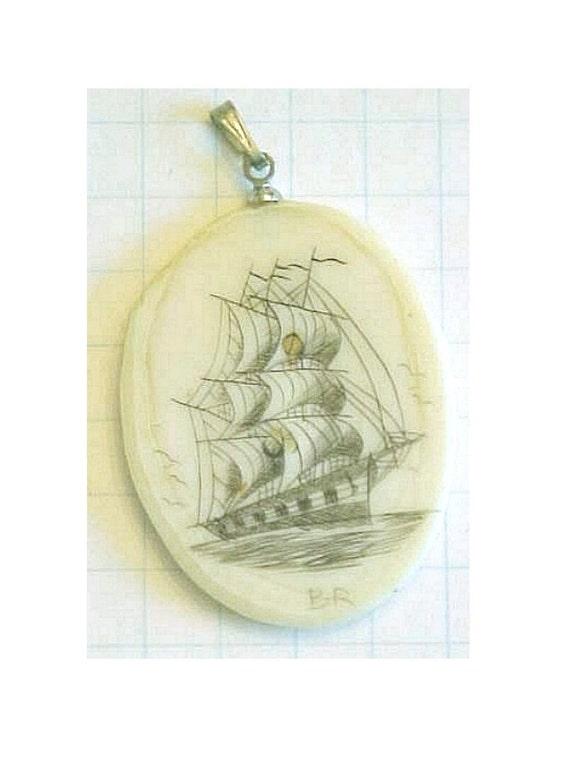 Fossil Walrus Tusk Scrimshaw Pendant of Ship - Artist signed B R