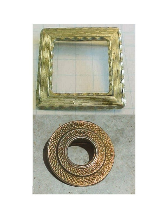 Golden Frame Brooches -  Textured Square Brooch &  Circle Pin -  Vintage c1950s - Frame your art - 2 Small