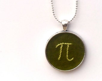 Pi Hand Embroidered Pendant - Greens