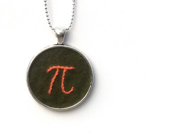 Pi Hand Embroidered Pendant Necklace - Green and Tangerine