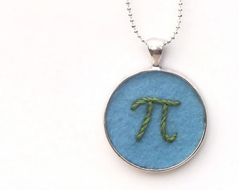 Blue & Green Pi Pendant, Hand Embroidered, Necklace or Keychain for the Math Enthusiast