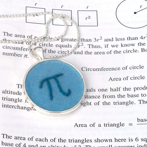 Pi Hand Embroidered Pendant - Blues