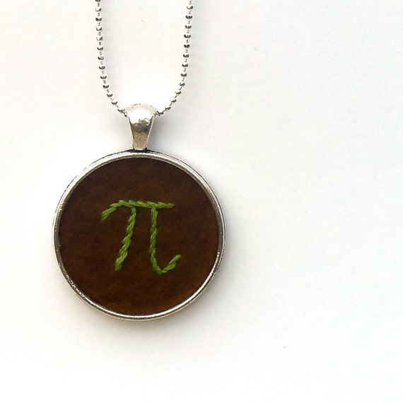 Pi Pendant - Hand Embroidered Pi Day Necklace - Chocolate Brown with Green