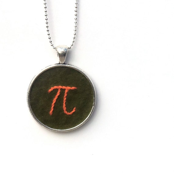 Pi Hand Embroidered Pendant Necklace or Keychain, Green and Tangerine