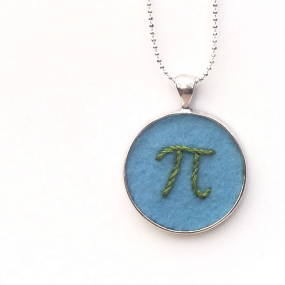 blue green pi pendant embroidered necklace or