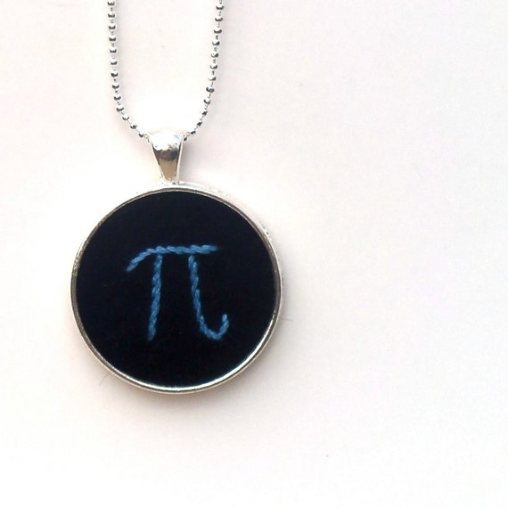 Pi Hand Embroidered Pendant - Made to Order - Blue on Black