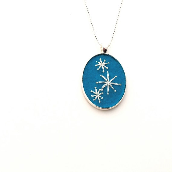 Mod Stars Hand Embroidered Pendant in Turquoise
