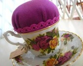 Vintage Teacup Pincushion - The Royal One