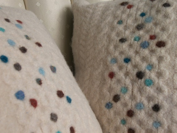 Cream and teal needle felted pillows