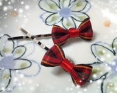 Set of 2 - Lovely Red Scottish Checked Bow Bobby Pin