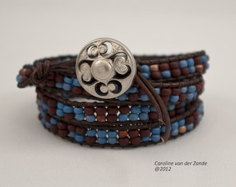 Boho Beaded 4X Leather Wrap Bracelet with Chocolate Brown, Matte Blue and Terra Cotta Beads on Natural Antique Brown Leather
