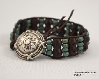 Leather and Beaded Cuff Bracelet featuring Wooden Beads and Turquoise Picasso Beads