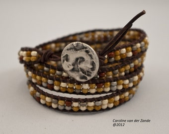 Boho Beaded 4X Leather Wrap Bracelet with Oregon Picture Jasper Beads on Natural Antique Brown Leather (LW-271)