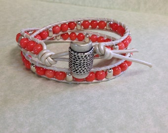 Leather Wrap Beaded Bracelet with Coral Czech Beads and Silver Beads on Metallic Pearl White Leather (LW-341)