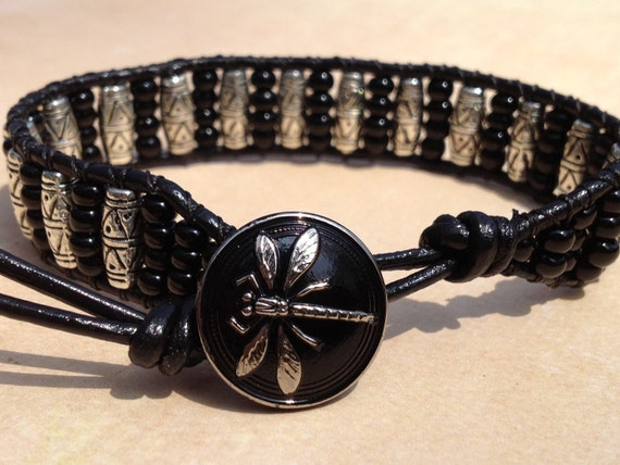 Single Wrap Leather Cuff Bracelet featuring Black Beads and Silver plated Beads on Black Leather with Dragonfly Button (LC-370)