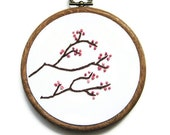 Cherry Blossom Embroidery Hoop - Pretty Pink Flowers Spring Nature Home Decor 4 inch Hoop Art